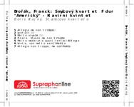 """Zadní strana obalu CD Dvořák, Franck: Smyčcový kvartet F dur """"Americký"""" - Klavírní kvintet"""