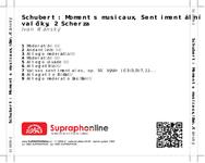 Zadní strana obalu CD Schubert: Moments musicaux, Sentimentální valčíky, 2 Scherza