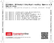 Zadní strana obalu CD Janáček: Příhody lišky Bystroušky. Opera o 3 dějstvích