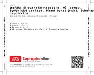 Zadní strana obalu CD Dvořák: Slovanské rapsódie, Můj domov, Symfonické variace, Píseň bohatýrská, Scherzo capriccioso