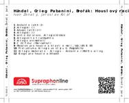 Zadní strana obalu CD Händel, Grieg, Pabanini, Dvořák: Houslový recitál