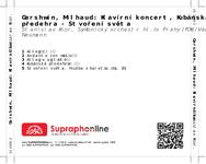 Zadní strana obalu CD Gershwin, Milhaud: Klavírní koncert, Kubánská předehra - Stvoření světa