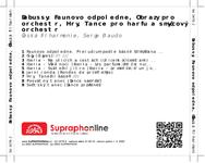 Zadní strana obalu CD Debussy: Faunovo odpoledne, Obrazy pro orchestr, Hry, Tance pro harfu a smyčcový orchestr