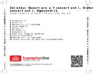 Zadní strana obalu CD Zelenka: Ouverture a 7 concertanti, Sinfonia a 8 concertanti, Hypocondria