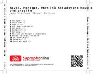 Zadní strana obalu CD Ravel, Honegger, Martinů: Skladby pro housle a violoncello
