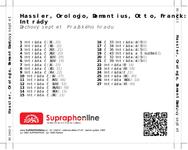 Zadní strana obalu CD Hassler, Orologio, Demantius, Otto, Franck: Intrády