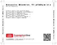 Zadní strana obalu CD Boccaccio: Dekameron. Tři příběhy ze sta
