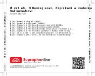 Zadní strana obalu CD Čtvrtek: O Rumcajsovi, Cipískovi a vodníku Volšovečkovi