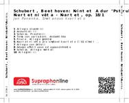 """Zadní strana obalu CD Schubert, Beethoven: Kvintet A dur """"Pstruh"""", Kvartetní věta - Kvartet, op. 18/1"""