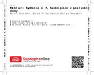 Zadní strana obalu CD Mahler: Symfonie č. 7, Sedm písní z poslední doby