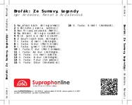 Zadní strana obalu CD Dvořák: Ze Šumavy, Legendy