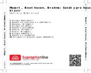 Zadní strana obalu CD Mozart, Beethoven, Brahms: Sonáty pro housle a klavír
