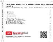 Zadní strana obalu CD Zelenka: Missa in D, Responsoria pro hebdomada sancta