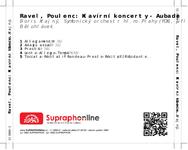 Zadní strana obalu CD Ravel, Poulenc: Klavírní koncerty - Aubade