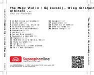 Zadní strana obalu CD The Magic Violin / Čajkovskij, Grieg, Gershwin, Albinoni ...