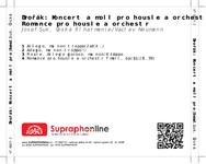 Zadní strana obalu CD Dvořák: Koncert a moll pro housle a orchestr, Romance pro housle a orchestr