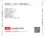 Zadní strana obalu CD 10 years – Live in Akropolis