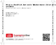 Zadní strana obalu CD Hraje Bedřich Antonín Wiedermann (historický snímek)