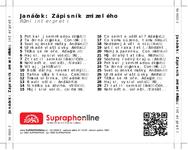 Zadní strana obalu CD Janáček: Zápisník zmizelého