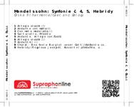 Zadní strana obalu CD Mendelssohn: Symfonie č. 4, 5, Hebridy