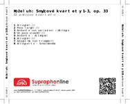 Zadní strana obalu CD Koželuh: Smyčcové kvartety 1-3, op. 33
