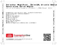 Zadní strana obalu CD Zelenka: Magnificat, Žalm 129, Litanie Omnium Sanctorum, Salve Regina
