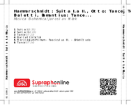 Zadní strana obalu CD Hammerschmidt: Suita I.a II., Otto: Tance, Tolar: Baletti, Demantius: Tance...