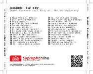 Zadní strana obalu CD Janáček: Balady