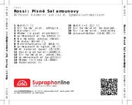 Zadní strana obalu CD Rossi: Písně Šalamounovy