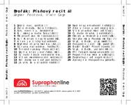 Zadní strana obalu CD Dvořák: Písňový recitál