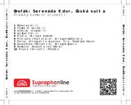 Zadní strana obalu CD Dvořák: Serenáda E dur, Česká suita