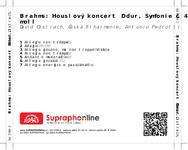 Zadní strana obalu CD Brahms: Houslový koncert D dur, Symfonie č. 4 e moll