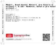 Zadní strana obalu CD Mozart, Beethoven: Koncert pro housle a orchestr, K. 216 - Romance, Sonata pro housle a orchestr D dur