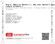Zadní strana obalu CD Fiala, Rössler-Rosetti, Rejcha: Koncerty pro lesní rohy a orchestr