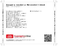 Zadní strana obalu CD Zaspala nevěsta Moravské lidové
