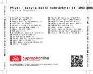 Zadní strana obalu CD Příval lásky (a další nahrávky z let 1963-1986)