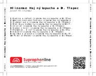 Zadní strana obalu CD Hlinomaz: Hajný Lopucha a Dr. Třapec