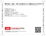 Zadní strana obalu CD Dvořák, Suk: Serenády pro smyčcový orchestr