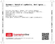 Zadní strana obalu CD Sommer: Vokální symfonie, Antigona...