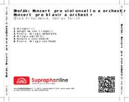 Zadní strana obalu CD Dvořák: Koncert pro violoncello a orchestr č. 2, Koncert pro klavír a orchestr
