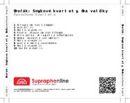 Zadní strana obalu CD Dvořák: Smyčcové kvartety, Dva valčíky