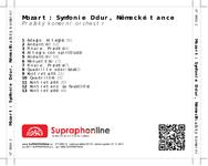 Zadní strana obalu CD Mozart: Symfonie D dur, Německé tance