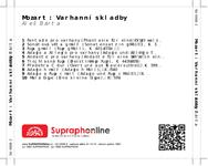 Zadní strana obalu CD Mozart: Varhanní skladby
