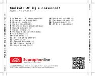 Zadní strana obalu CD Muzikál: Ať žije rokenrol!