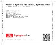 "Zadní strana obalu CD Mozart: Symfonie ""Pražská"", Symfonie D dur"