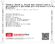Zadní strana obalu CD Chopin: Sonáta, Grand duo concertante, Introdukce a polonéza pro violoncello a klavír, Klavírní trio