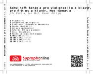 Zadní strana obalu CD Schulhoff: Sonáta pro violoncello a klavír, Sonáta pro flétnu a klavír, Hot-Sonata
