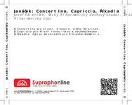 Zadní strana obalu CD Janáček: Concertino, Capriccio, Říkadla