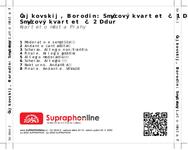 Zadní strana obalu CD Čajkovskij, Borodin: Smyčcový kvartet č. 1 D dur, Smyčcový kvartet č. 2 D dur