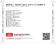 Zadní strana obalu CD Vaňhal: Sonáty pro violu a cembalo